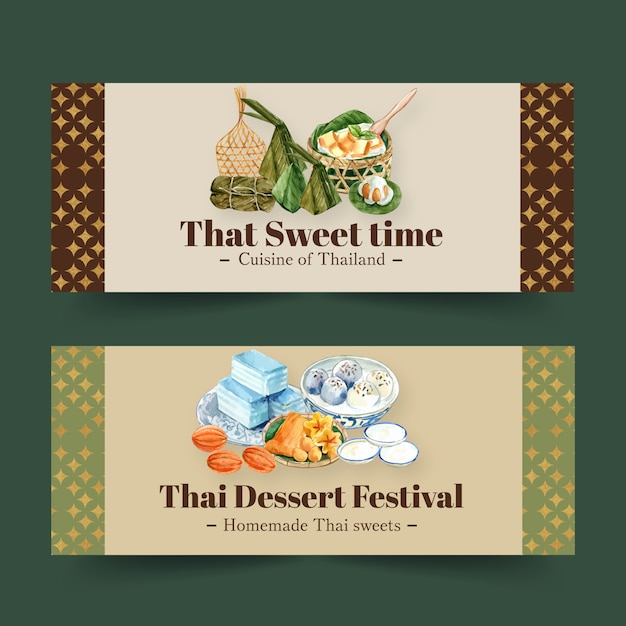 Thai sweet banner design with mini castella, golden threads watercolor illustration. Free Vector