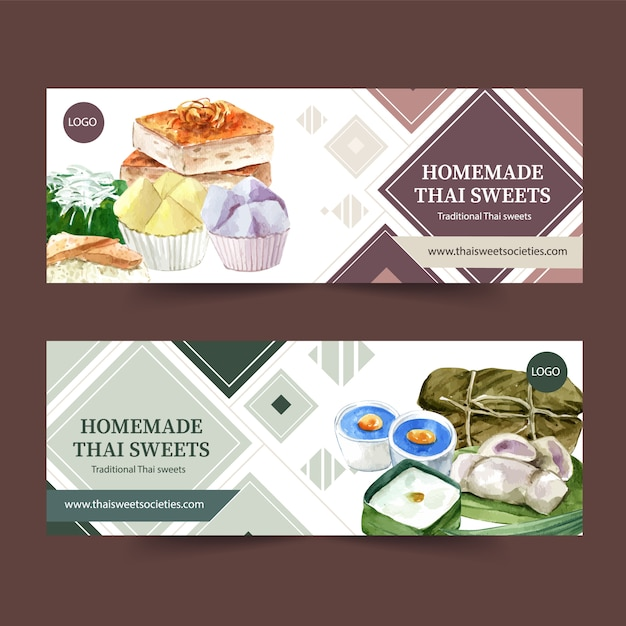 Thai sweet banner design with pudding, sticky rice watercolor illustration. Free Vector