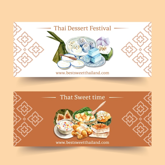 Thai sweet banner design with thai pudding, layered jelly watercolor illustration. Free Vector