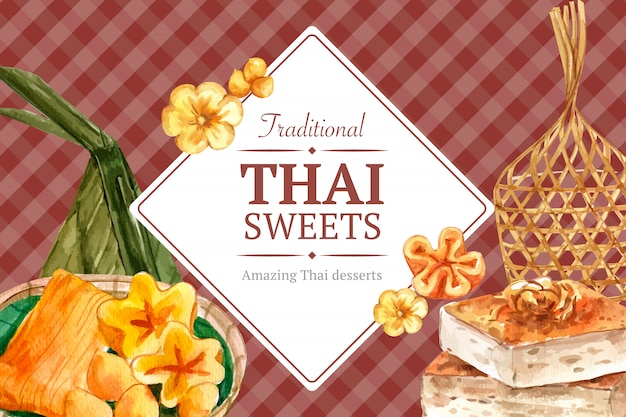 Thai sweet banner template with golden threads, thai custard illustration watercolor. Free Vector