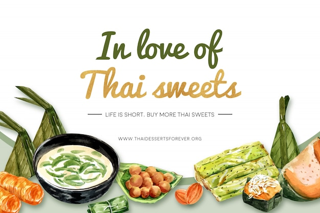 Thai sweet banner template with mini castella, steamed pumpkin illustration watercolor. Free Vector