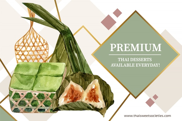 Thai sweet banner template with pudding, pyramid dough illustration watercolor. Free Vector