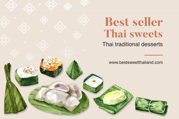 Thai sweet banner template with sticky rice, pudding, banana illustration watercolor. Free Vector