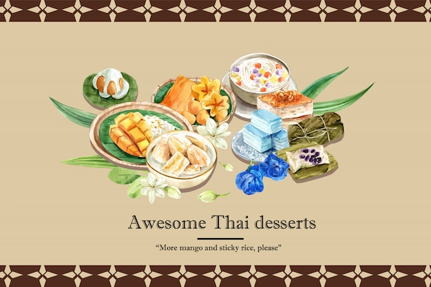 Thai sweet banner template with sticky rice, sweets with meean illustration watercolor. Free Vector