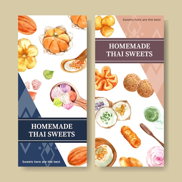 Thai sweet banner with mini castella, golden threads watercolor illustration. Free Vector