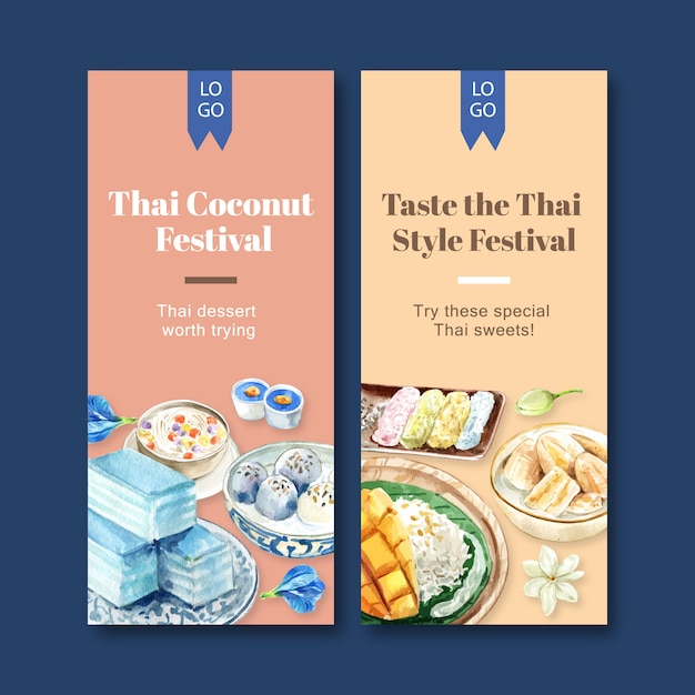 Thai sweet banner with pudding, sticky rice, mango watercolor illustration. Free Vector