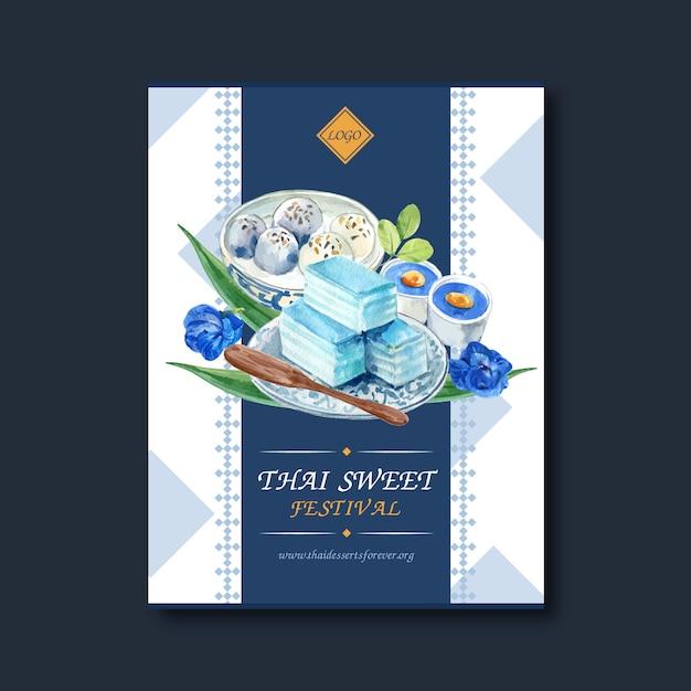 Тайский сладкий дизайн плаката с наслоенным желе, акварелью иллюстрации пудинга. Бесплатные векторы