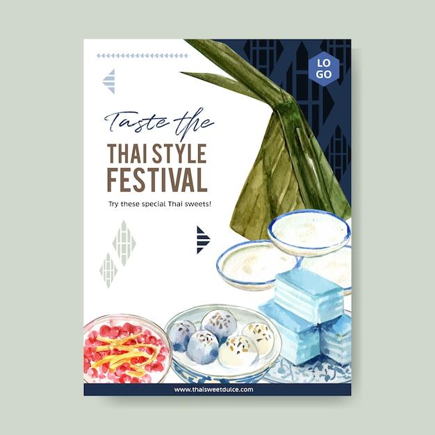 Тайский сладкий дизайн плаката с пудингом, слоистых желе акварель иллюстрации. Бесплатные векторы