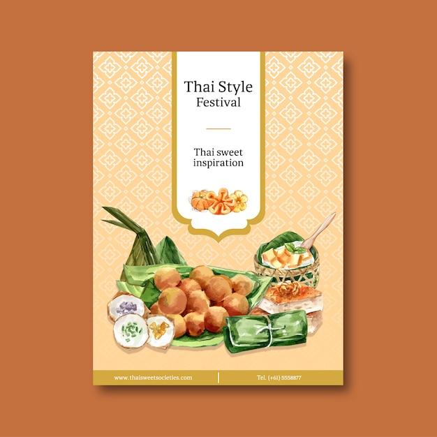 Тайский сладкий дизайн плаката с тайским заварным кремом, акварель иллюстрации пудинг. Бесплатные векторы