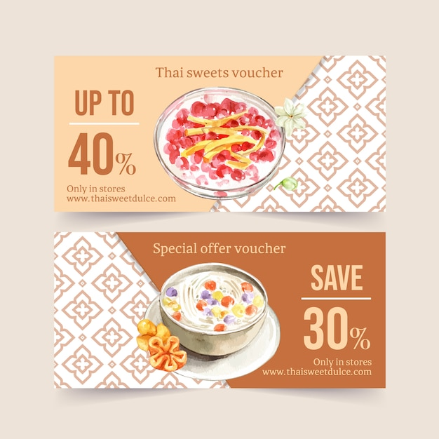 Thai sweet voucher design with coconut milk, water chestnut illustration watercolor. Free Vector