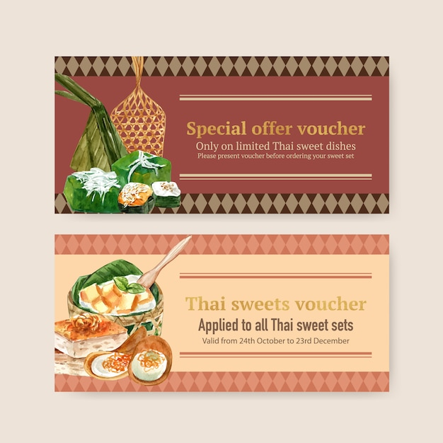 Thai sweet voucher design with thai custard, pudding illustration watercolor. Free Vector