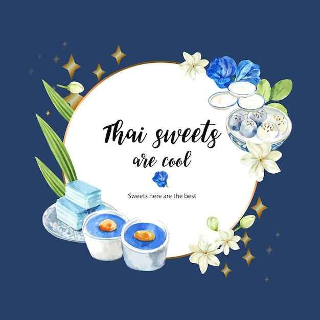 Thai sweet wreath with pudding, layered jelly, flowers illustration watercolor. Free Vector