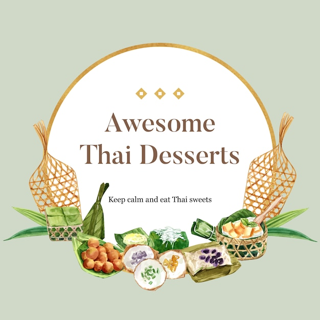 Thai sweet wreath with pudding, sticky rice illustration watercolor. Free Vector