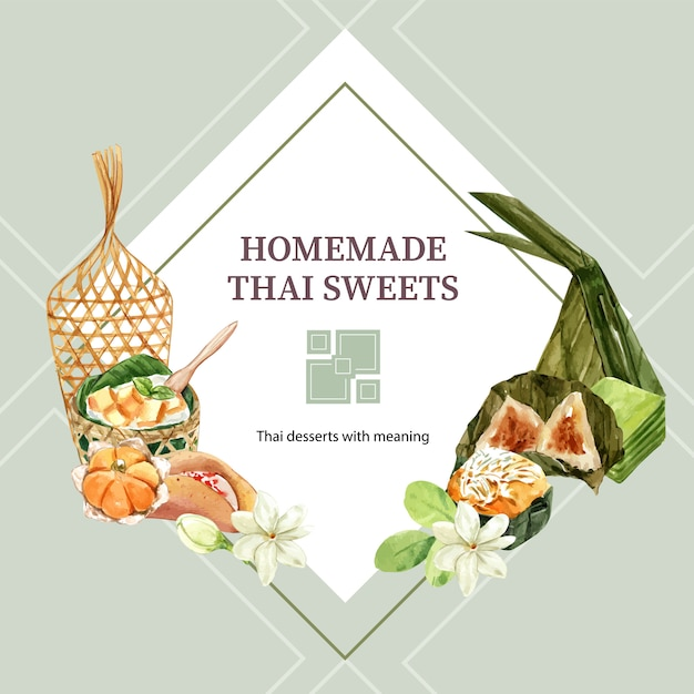 Thai sweet wreath with pyramid dough, layered jelly illustration watercolor. Free Vector