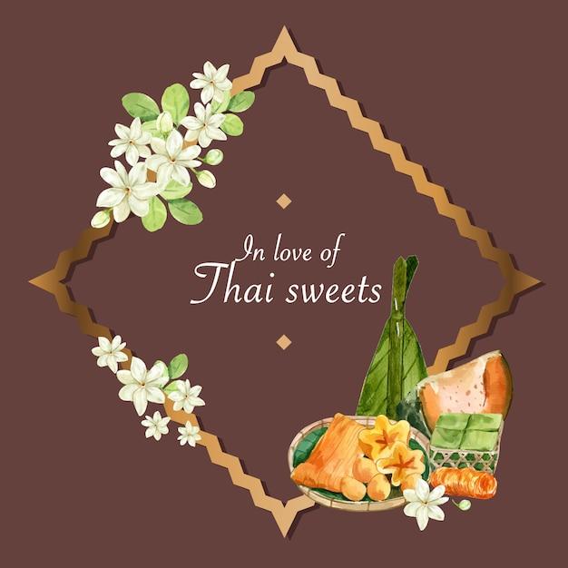 Тайский сладкий венок с испаренной тыквы, яичный крем иллюстрации акварель. Бесплатные векторы