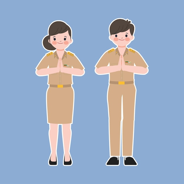 Thai teacher and government greeting pose. people in government job character. Free Vector