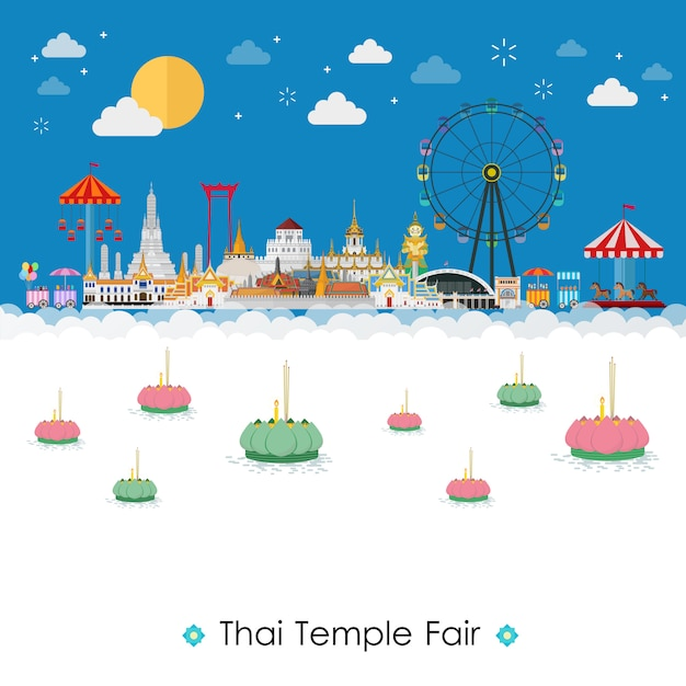 Thai temple fair. celebrate in bangkok and across thailand Premium Vector