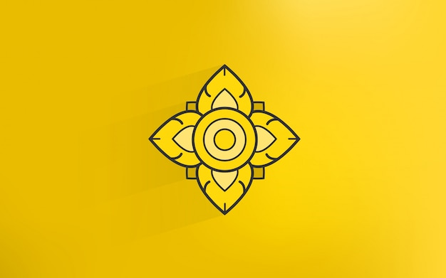 Thai tradition art icon with gold color background Premium Vector