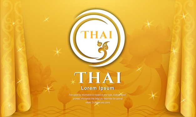 Тайский традиционный фон, концепция искусства таиланда, векторные иллюстрации. Premium векторы