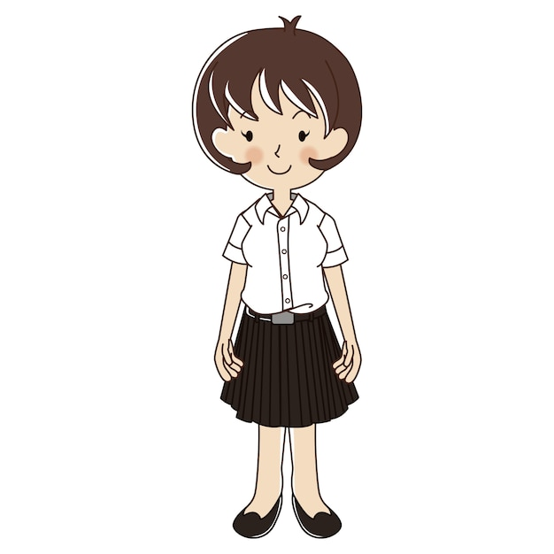 Thai woman in university student uniform Premium Vector