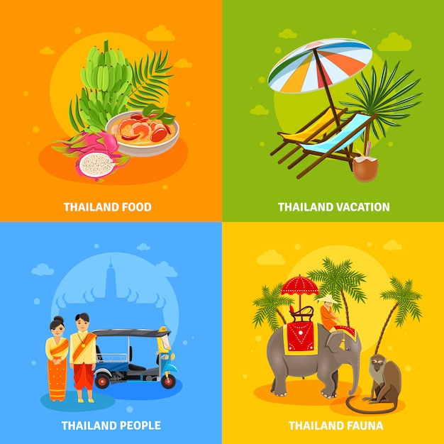 Thailand concept set Free Vector