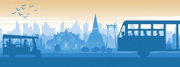 Thailand famous landmark in scenery lifestyle Premium Vector
