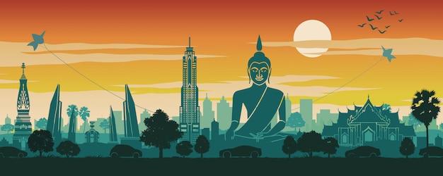 Thailand famous landmark scenery Premium Vector