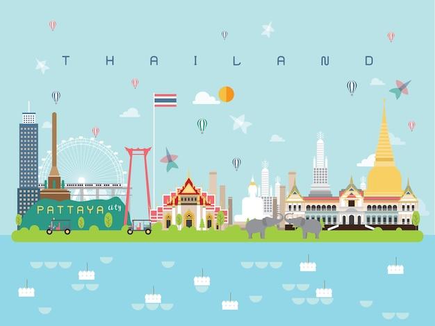 Thailand famous landmarks infographic Premium Vector