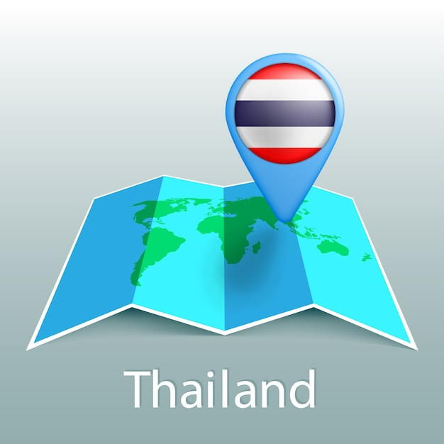 Thailand flag world map in pin with name of country on gray background Premium Vector