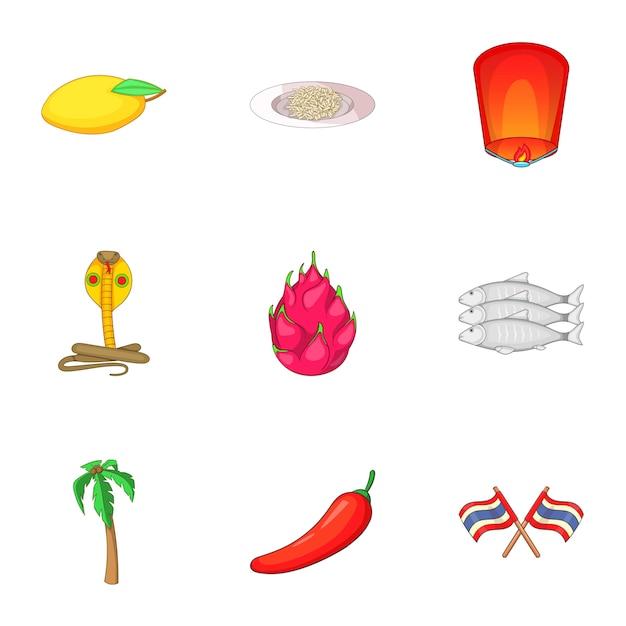 Thailand food icons set, cartoon style Premium Vector