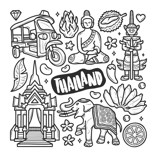 Colorazione disegnata a mano di scarabocchio delle icone della tailandia Vettore gratuito