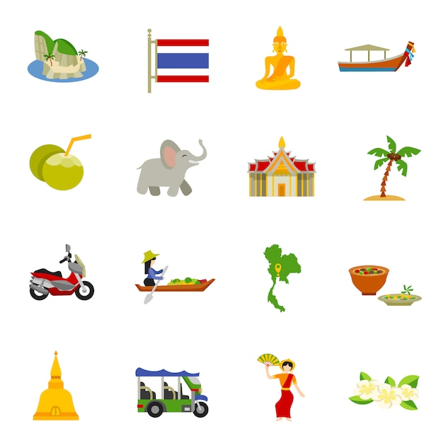 Thailand icons set Free Vector