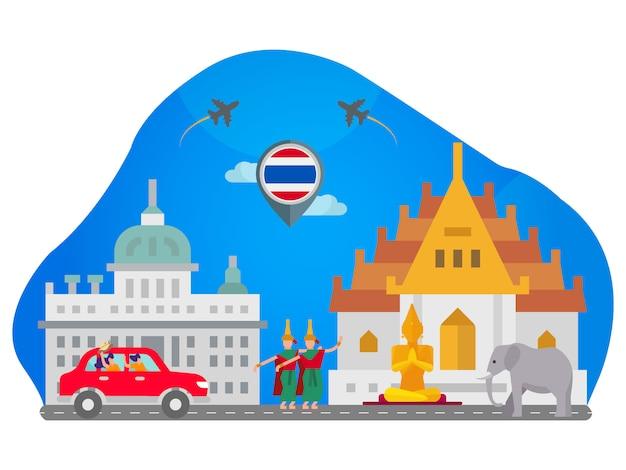 Thailand landmark flat illustration Premium Vector