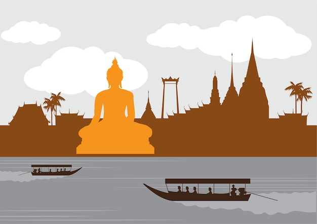 Thailand landmark and travel place,temple,background. Premium Vector