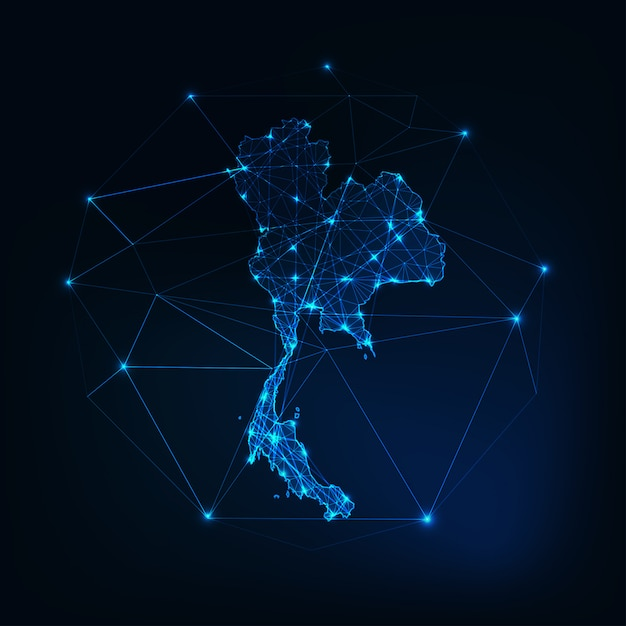 Thailand map glowing silhouette outline Premium Vector