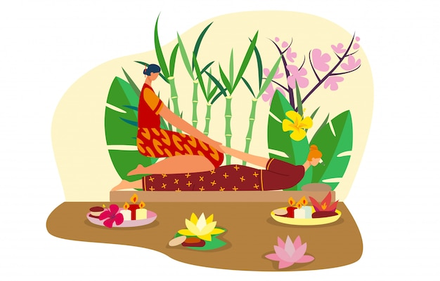 Таиланд массажистка, женщина характера тайская, азиатская девушка, место курорта, изолированное на белой, плоской иллюстрации. бамбук, пальмовый лист. Premium векторы
