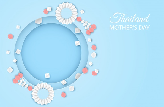 タイ母の日の背景。母の日のためのガーランド折り紙を使ったデザイン。タイの伝統的なペーパーアートスタイル。 Premiumベクター