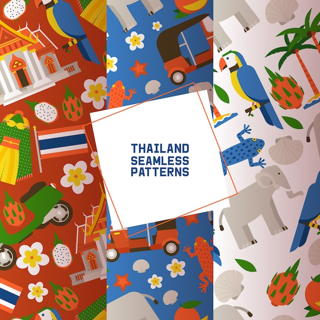 Thailand set of seamless patterns. traditions, culture of country. ancient memorials, buildings, nature and animals such as elephant, parrot, lizard. Premium Vector