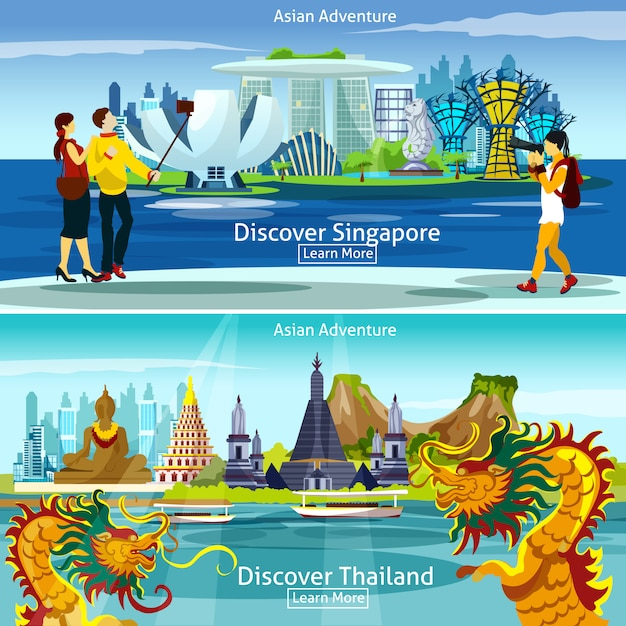 Thailand and singapore travel compositions Free Vector