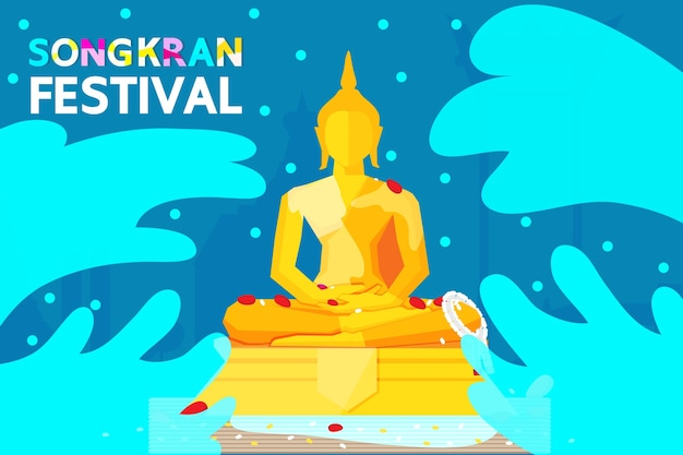 Thailand songkran festival illustration Premium Vector