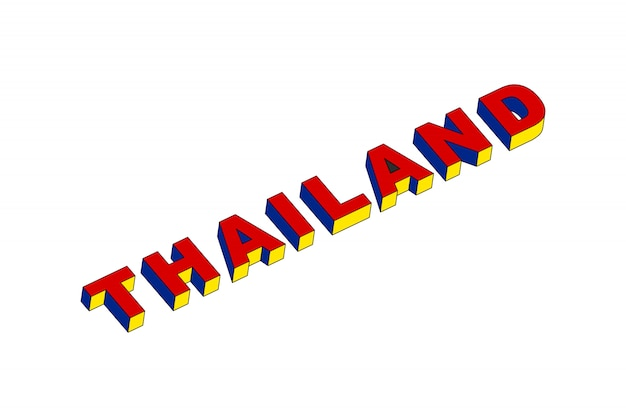 Thailand text with 3d isometric effect Premium Vector