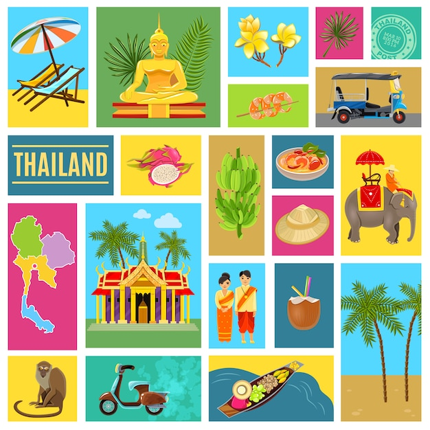 Thailand tiled poster Free Vector