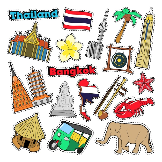 Thailand travel elements with architecture for badges, stickers, prints. vector doodle Premium Vector