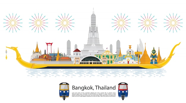 Thailand travel. the golden palace to visit in thailand in flat style Premium Vector