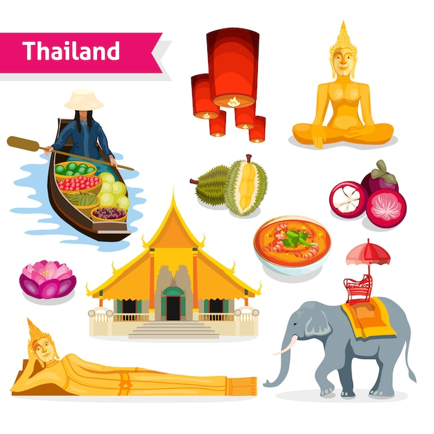 Thailand travel set Free Vector