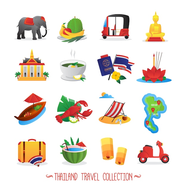 Thailand travel symbols collection Free Vector