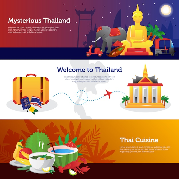 Thailand for travelers web page design with information on transportation thai cuisine Free Vector