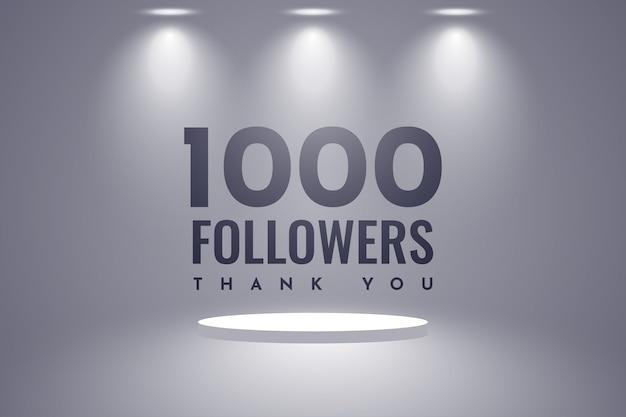 Спасибо 1000 подписчиков дизайн Premium векторы