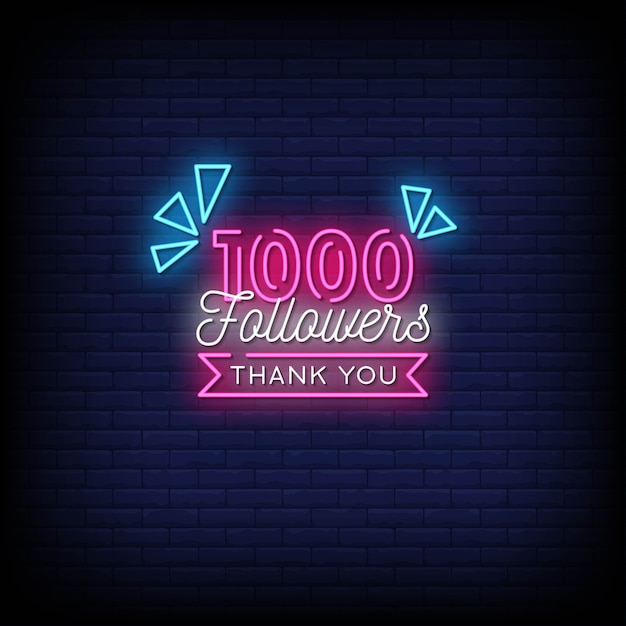 Thank you 1000 followers neon signs style text Premium Vector
