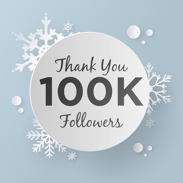 Thank you 100k followers, paper art style. Premium Vector